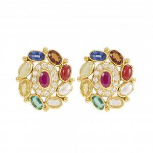 Navaratna 18K Gold Stud Earrings