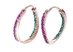 Ruby-Emerald Hoops