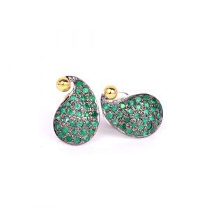 Emerald Paisley Studs