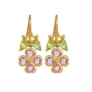 Pink Sapphire Gold Drop Earrings