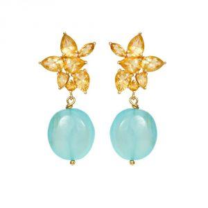 Chalcedony Gold Earrings